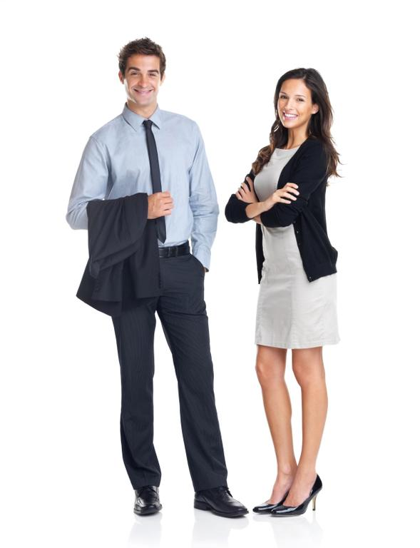 Full length portrait of young smiling business colleagues standing on white background